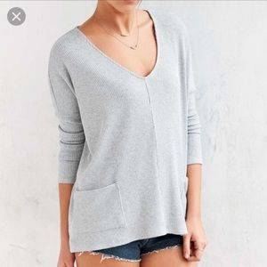 BDG | Grey Rubbed Pocket Front Sweater